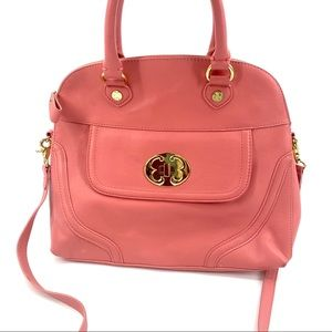 Emma Fox pink leather satchel purse crossbody